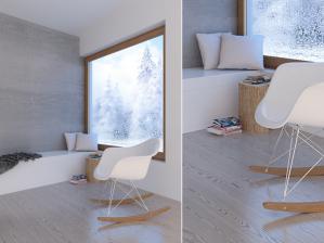 prace Architektów Leste - Projekt salonu w domku letniskowym Krynica 2012